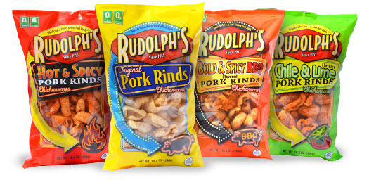 Rudolphs PorkRinds Secret to Satisfying that Mid Day Craving.